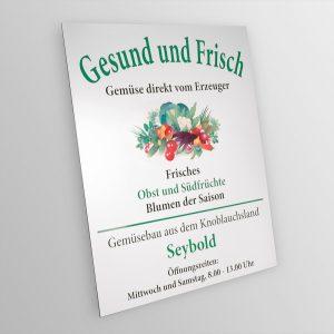Alu Dibond Schild für den Gemüsebau der Familie Seybold