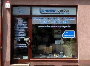 Folierung des Büros von Scheuerer Umzüge in Nürnberg