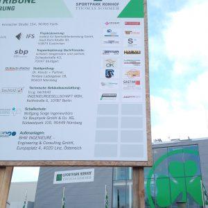 Folierte Bautafel für den Sportpark Ronhof