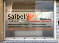 Schaufensterbeklebung   Pflegedienst Saibel