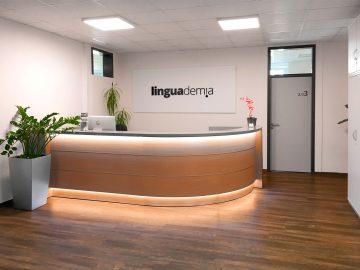 Schild mit 3D Logo - Empfang der Sprachschule linguademia mit großem Schild, worauf das Logo mit Folie angebracht wurde