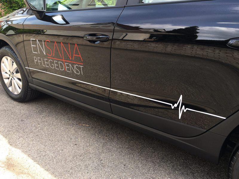 Filigranes Ensana Pflegedienst Logo mit Herzschlaglinie als Eyecatcher