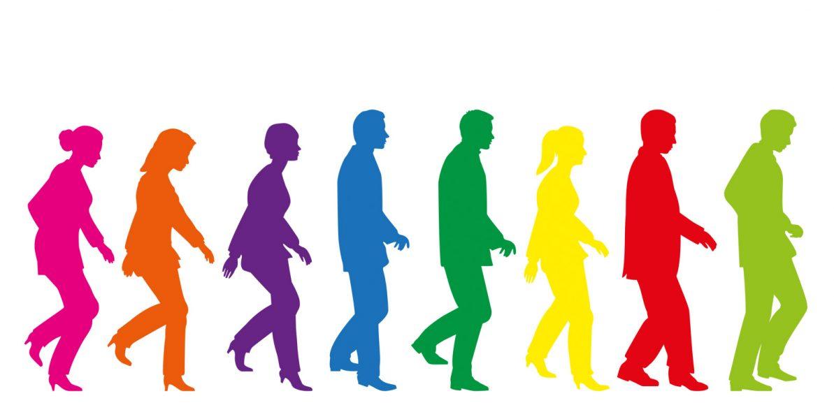Weibliche und männliche Schattenfiguren auf einem Blick in Ihren unterschiedlichen Farben