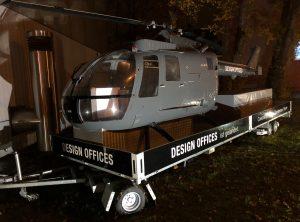 Helikopter Beklebung - Helikopter und Anhängerbeklebung mit Design Offices Logo