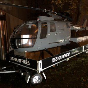 Helikopter und Anhängerbeklebung mit Design Offices Logo