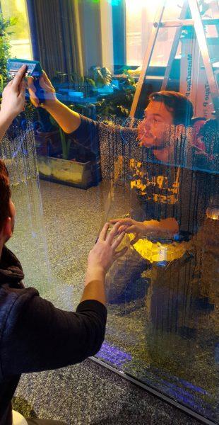 Dichroitische Folienbeklebung - Folierer montiert dichroitische Folie mit entspanntem Wasser