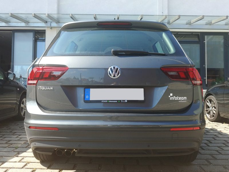 Heckbeschriftung auf einem grauen VW für das Infoteam aus Bubenreuth