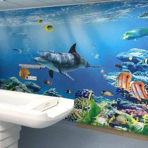 Wand komplett foliert mit einer Unterwasserlandschaft in der Kinderklinik Erlangen