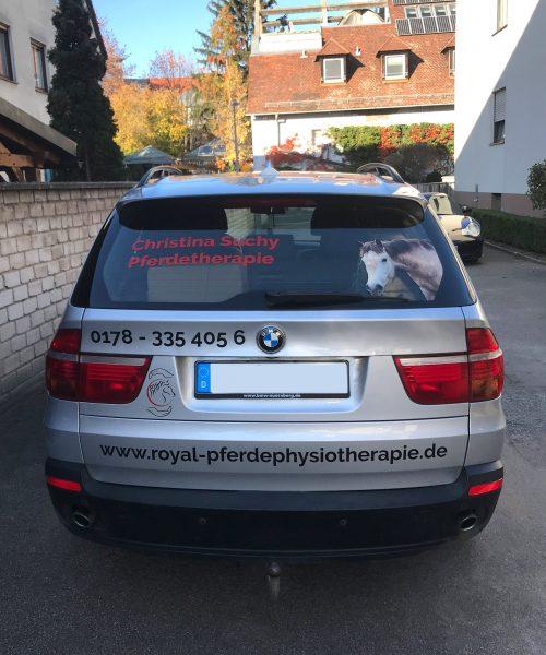 Heckansicht eines neu beklebten silbernen BMW X5 für Royal Pferdephysiotherapie