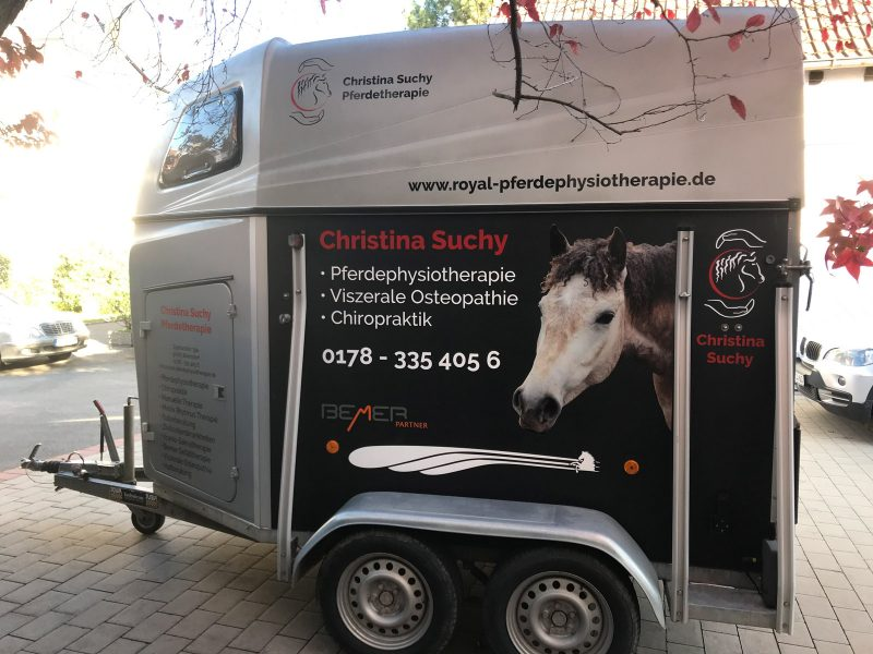 Seitenansicht eines neu beklebten Pferdeanhängers für Royal Pferdephysiotherapie