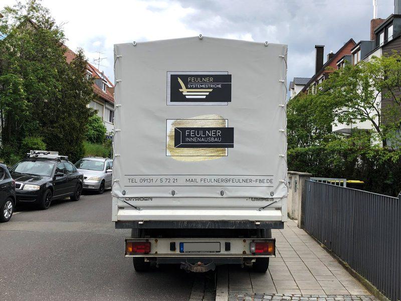Flottenbeschriftung - Heckansicht des neu folierten Citroen Jumper für Feulner Innenausbau