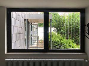 Vogelschutzstreifen an einem Fenster von innen fotografiert bei der Augustana Hochschule