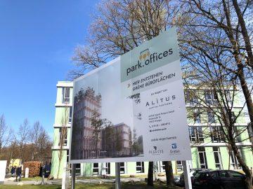 Direkt bedrucktes Schild für Alitus aus der Nähe fotografiert